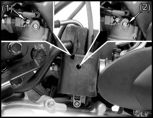 Install the carburetor top. ( 12-5) Install the air cleaner onto the carburetor and tighten the band screw.