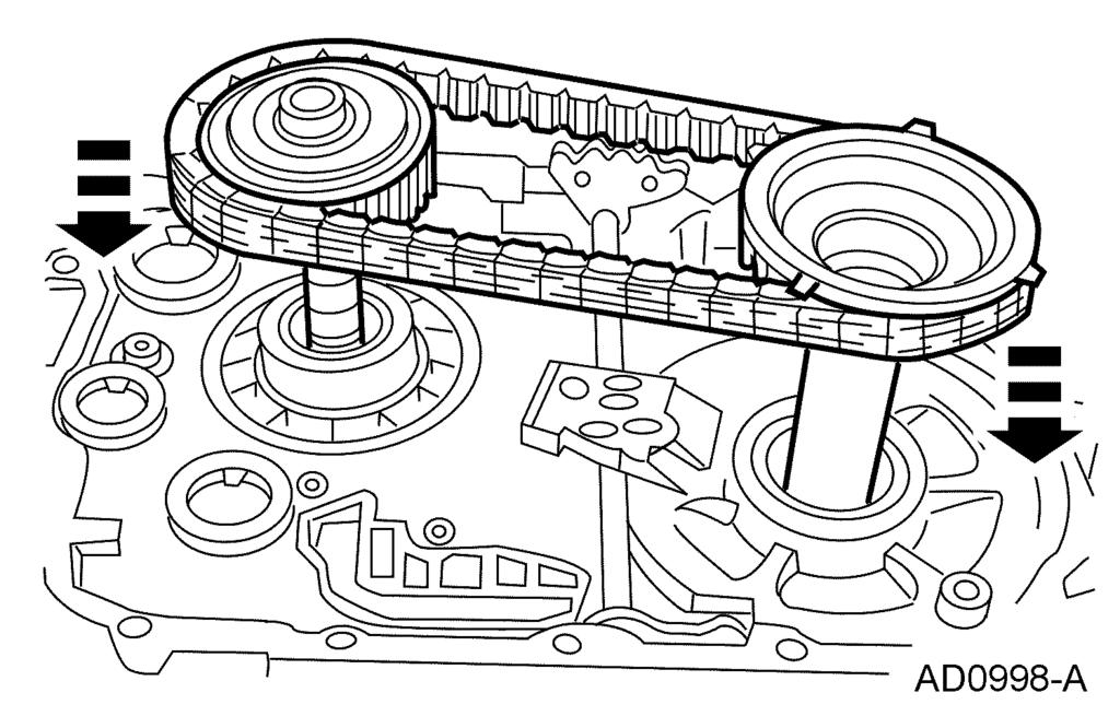 307-01-25 Automatic Transaxle/Transmission 307-01-25 63. NOTE: The manual control valve detent lever must be installed with the shoulder and roll pin hole pointing toward the driven sprocket support.