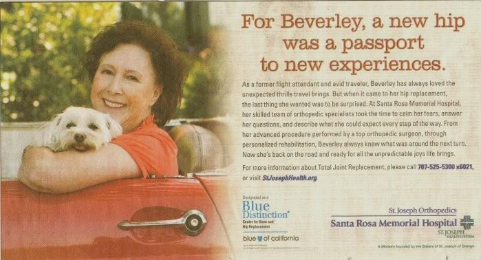 In the June 7, 2011 issue of the Press Democrat newpaper this ad was placed for the Santa Rosa Memorial Hospital. Beverley is sitting in the driver s seat of a 55 or 56 Thunderbird.