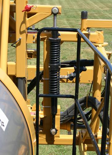 Before installing the linear damper, the factory springs and dampers must be removed from the sprayer.