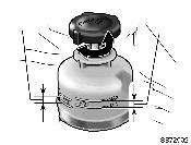 If the level is low, add SAE J1703 or FMVSS No.116 DOT 3 brake fluid to the brake reservoir. Remove and replace the reservoir cap by hand. Fill the brake fluid to the dotted line.