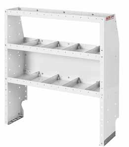"DURABILITY achieved with heavy duty gauge steel construction FLAT FRONTS on "" deep adjustable shelves."