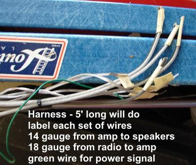 Create wiring harness- cut 4 lengths of 18 gauge speaker wire (speaker wire will have two wires connected together for +/-) to run from the radio to the amp s speaker level input & cut 4 lengths of