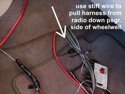 7a. Run the speaker harness- Take the same stiff wire you used to pull the main power supply and connect it in a similar fashion to your harness.