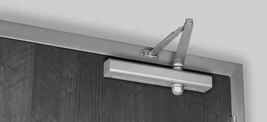 "There must be sufficient frame face and/or ceiling clearance for this application. It requires a top rail on the door of just 2-1/4"" (57mm)."