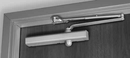 The entire door closer and arm assembly project from the frame, similar to the regular arm application, where matters of appearance and malicious abuse can be of