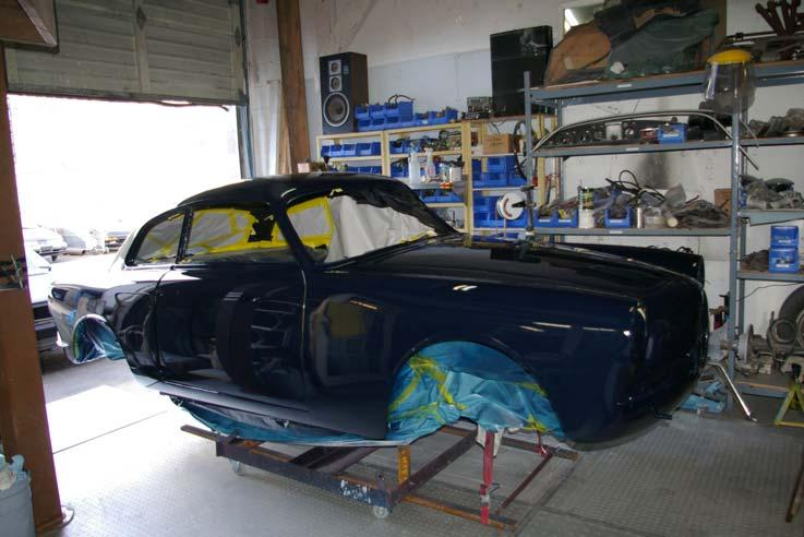 The third picture shows it after body prep and paint, which is Midnight Blue. The engine was dated as 1967 and not original to the car.