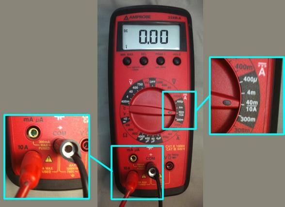 2.A Measuring DC Currents The figure below shows the multimeter set up to measure a DC current with a maximum value of 10 amperes. Note that: 1.