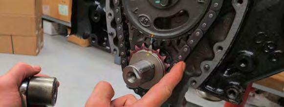3/8 of chain slack is recommended to avoid premature bearing failure. If the timing chain is too tight or too loose, a new timing chain set may be required.