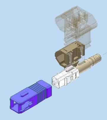 suitable for premise, LAN and Telco applications. The connector does not employ a special assembly tool, but incorporates its own preassembled wedge clip.