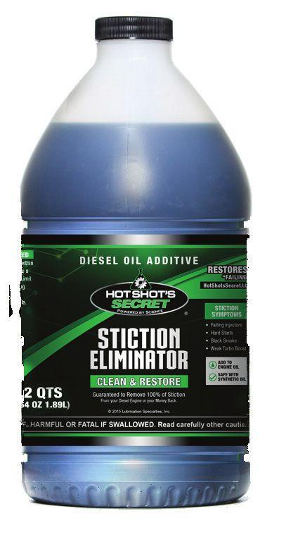 The ONLY Oil Additive that REMOVES STICTION in Diesel Injectors STICTION ELIMINATOR Proven Technology - Guaranteed Results Restores 9 out of 10 failing injectors Eliminates