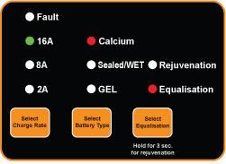 Equalisation Process (For Calcium / Conventional Sealed/WET Batteries Only) NOTE: We recommend to disconnect the Battery from the Vehicle before using this feature.