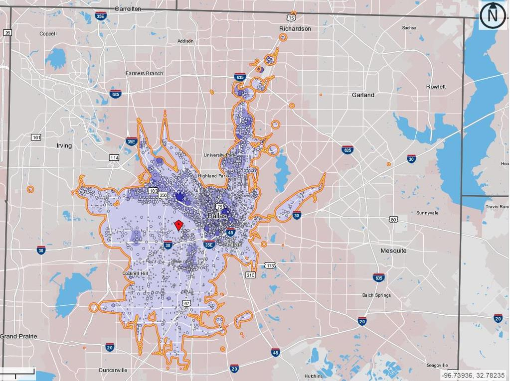 Jobs Accessible Within 60 minutes by transit from West Dallas Neighborhood Jobs Accessible by Transit 600,000
