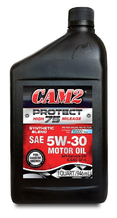 HIGH MILEAGE CAM2 PROTECT75 HIGH MILEAGE Motor Oil is formulated to meet the requirements of higher mileage engines with over 75,000 miles.