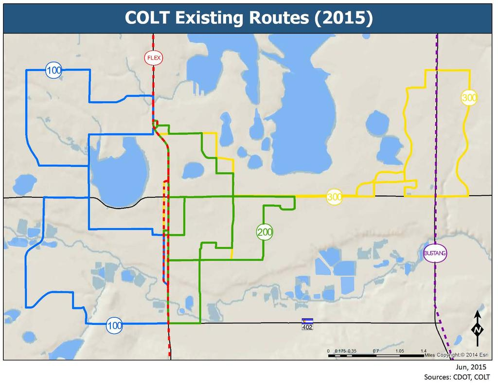 City of Loveland Transit Routes COLT currently runs three routes, Figure 8 6. Previous updates to the routes were made in 2011, adjusting 2008 routes.