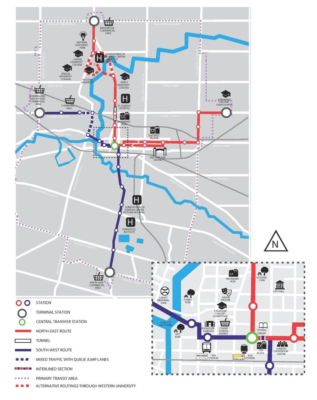 Shift Rapid Transit Corridors Key route modifications Two way couplet on Richmond/Clarence is now two way RT on Clarence, tunnel portal on Clarence Design