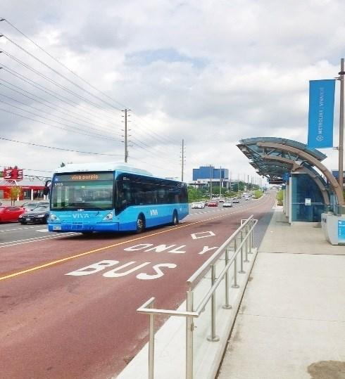 lanes for rapid transit, physically separated from other traffic where feasible