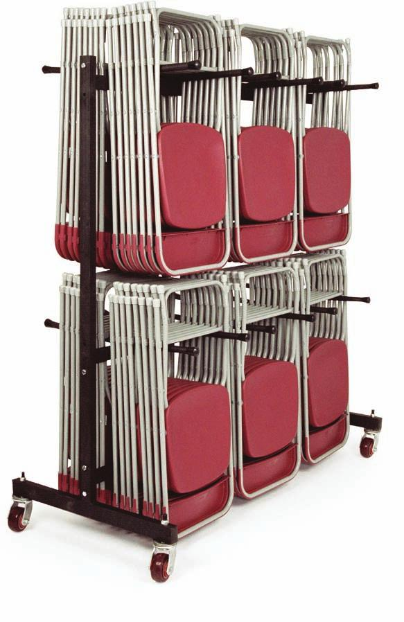 L29 x W470 x H150mm All measurements are for fully loaded trolleys. 40 Chair Trolley TC40T 70 Chair Trolley The 70 chair trolley will hold upto 70 of the flat back or the fan back folding chairs.
