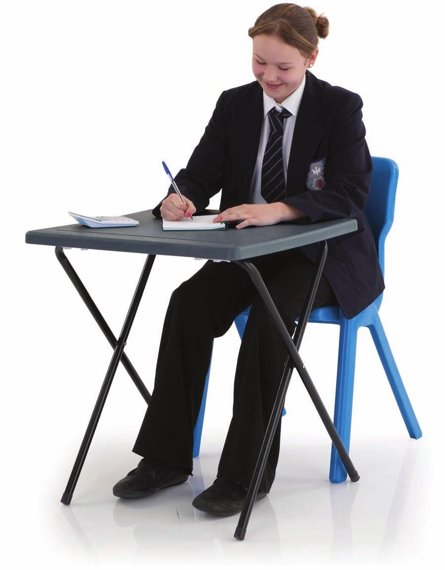desks will never collapse Extra strong oval steel frame Complete with pen groove Folds neatly away when not in use Upto 50% lighter than traditional wooden top exam desks!