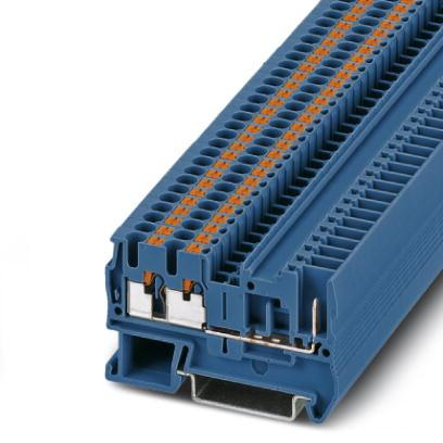 Extract from the online catalog PT 2,5-TWIN/1P BU Order No.: 3209646 Feed-through terminal block, Connection method: Push-in / plug connection, Cross section: 0.14 mm² - 4 mm², AWG: 26-12, Width: 5.