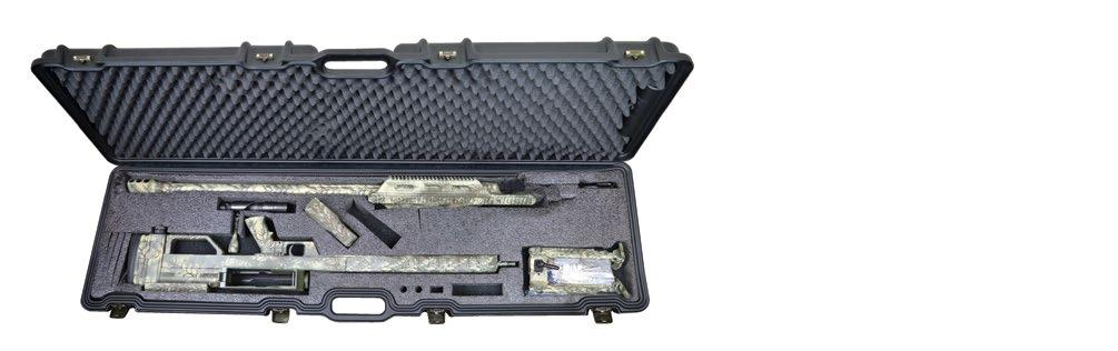 The entire rifle can be easily disassembled and stowed away in the included heavy-duty rolling case.