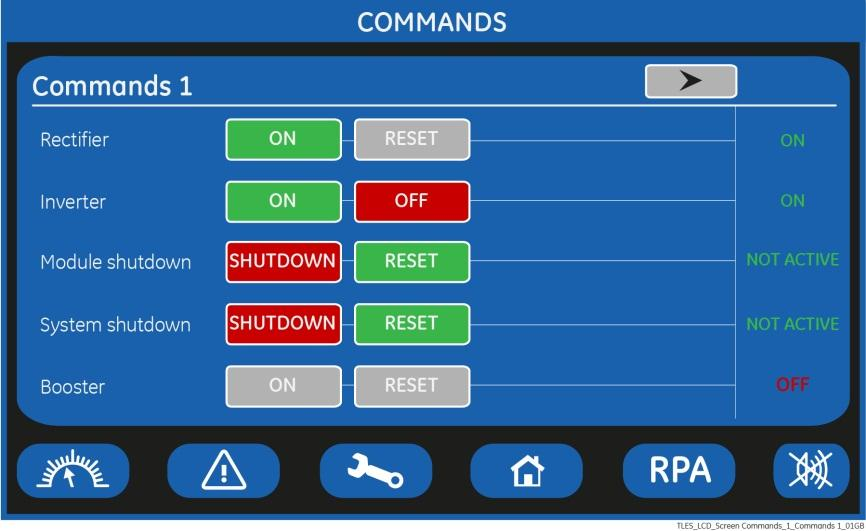 COMMANDS 1 SCREEN Allows the user to execute UPS operation commands. Rectifier Rectifier ON Rectifier switching ON command. Rectifier RESET Rectifier restore command. Reserved for the Service Center.