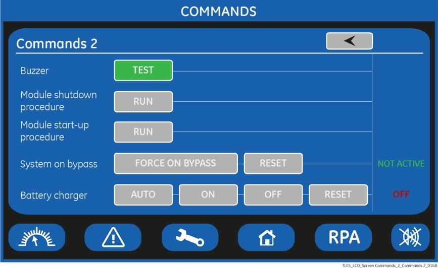 COMMANDS 2 SCREEN Allows the user to execute UPS operation commands. Buzzer TEST Acoustical alarm test (acoustical alarm should be always activated).