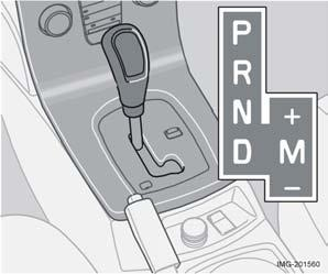 Press the inhibitor button to move the lever forward or back between the different gear positions.