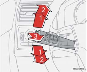 Instruments and controls Left-hand stalk switch Direction indicators, light switch and main beam flash Resistance point position (1) When changing lanes or overtaking, move the lever until you feel a