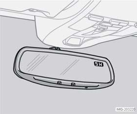 Autodimming (option) A sensor (4) on the bottom edge of the mirror detects light coming from behind and dims the mirror if the light is strong. An authorised Volvo workshop can adjust the sensitivity.