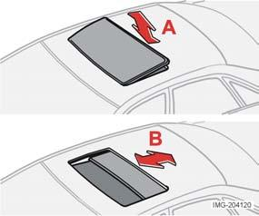 Instruments and controls Power sunroof (option) Open positions The sunroof controls are located in the roof panel. The sunroof can be opened to two positions: A.