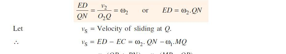 Similarly, the velocity of point Q, considered as a point on wheel 2, along the common tangent TT is represented by ED.