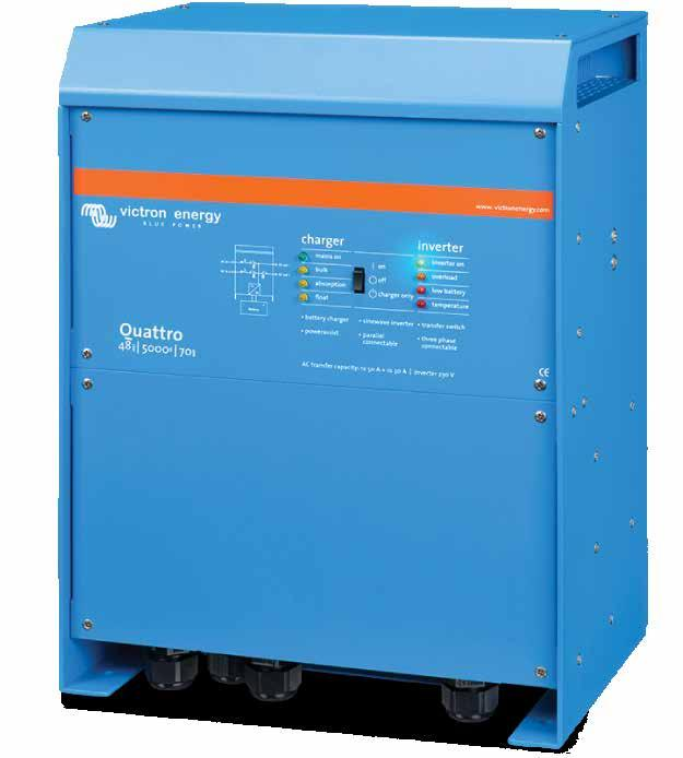 Inverters / Chargers Victron Energy Quattro 120V Inverter / Charger 3kVA - 10kVA Models: 3000VA, 5000VA, 8000VA, 10000VA, 15000VA Similar to the MultiPlus, the Quattro is also a combined inverter and