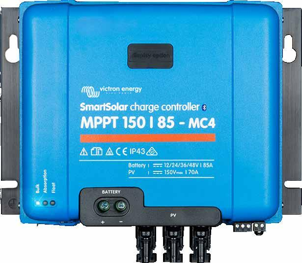Charge Controllers Victron Energy Models: 12/24/36/48 Volt BlueSolar MPPT 150/35-100* Charge Controller 150/35 up to 150/100 power range Models: 12/24/36/48 Volt SmartSolar MPPT 250/60-100* Charge