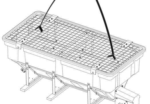 6. Attach two lift straps through the top grate to the front and rear spreader cross supports. IMPORTANT: DO NOT attach the lift straps directly to the top grate.
