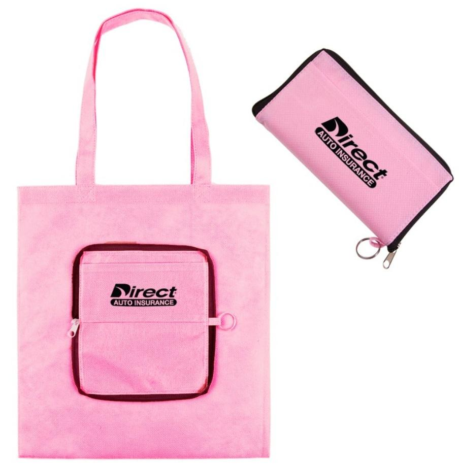 Eco Friendly Pink Folding Zippered Tote Clear ID pocket on one side Size: 14''W x 14''H x 6''D Available in red, and hunter green Regular Price: $2.29 each Closeout Price: $1.