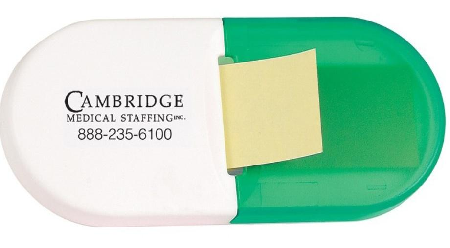 Includes adhesive tab on the back Refillable with standard sticky pads available at your local office supply store Size: 4 1/4''W x 3''H x 1 3/8 ''D Only available in green
