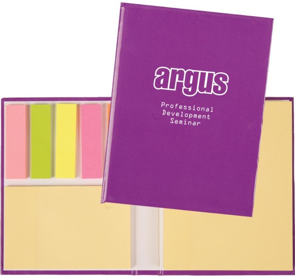 sticky notepad, and five assorted neon color 25 page 1 3/4''x1/2'' sticky notepad/flags Available in pink, or purple cover Desktop Tape Dispenser Regular Price: $2.81 each Closeout Price: $1.