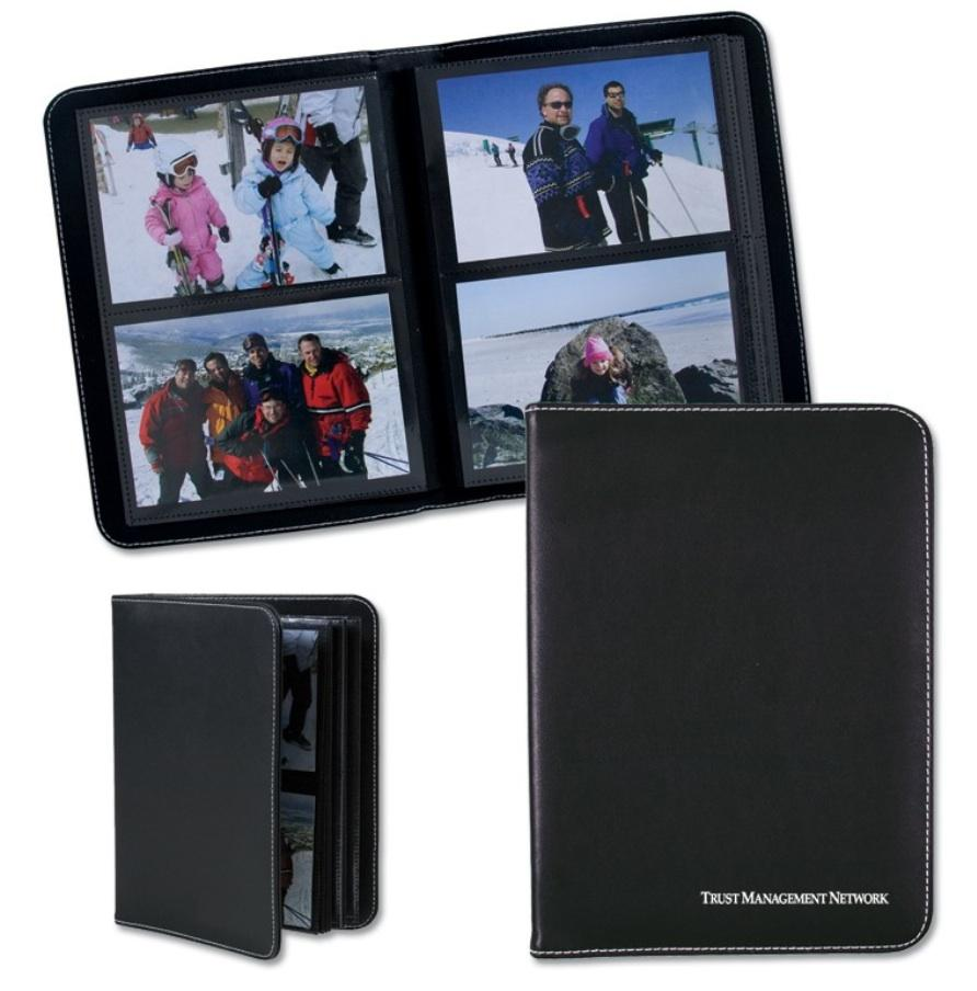 49 each Bound photo album with rigid soft-touch black PVC cover featuring white contrast stitching Holds 80 4'' x 6''