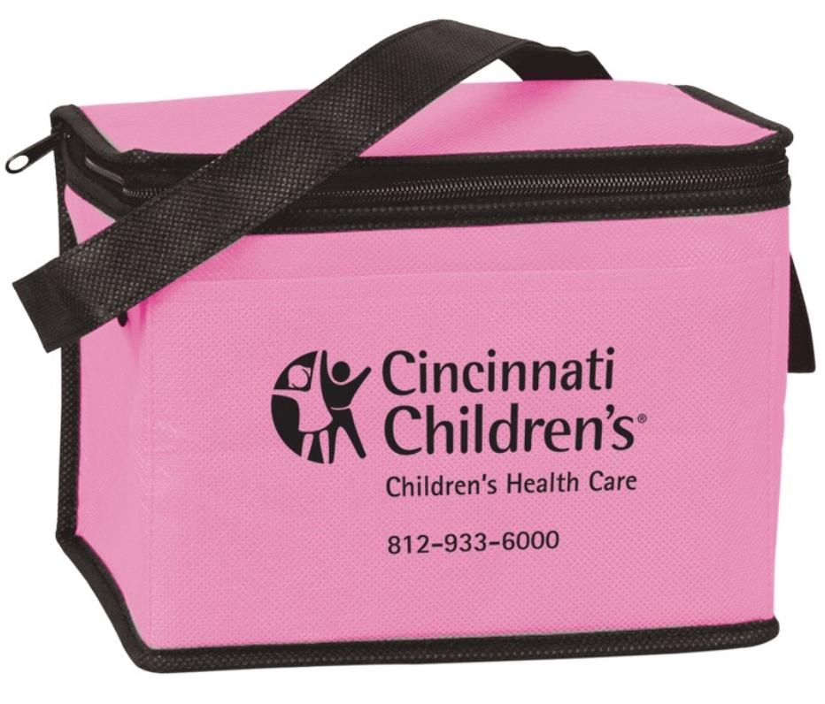 Pricing includes a one color/one location imprint Durable eco friendly cooler bag made of 80 GSM Nonwoven Polypropylene exterior and thermal food safe foil lining Includes