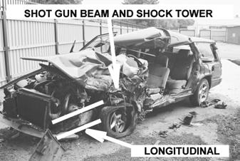Used load paths in subject car were the upper front structure (shot gun beam and shock tower) and left front wheel which deformed the hinge pillar and sill.
