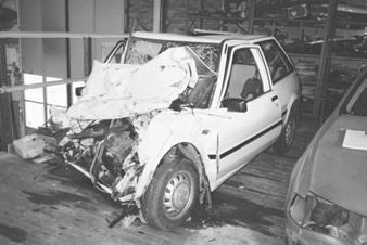 Case 2: Subject car of year model 1985 collided head on with another car, subject car was not equipped with any airbags.