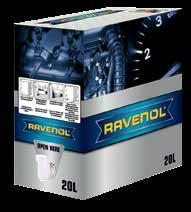 The RAVENOL BAG IN BOX system is made up of a robust outer box and a plastic bag with integrated outlet tap.