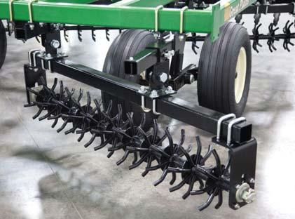 Rolling harrow modules break up clods and level the surface HYDRAULIC WEIGHT TRANSFER - Transfer valve adjusts