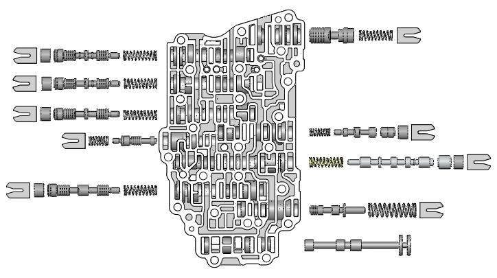 OE Exploded View NOTE: Depending upon vehicle application, the OE springs shown may not be present. 25 20 15 10 30 0 VACUUM TEST 5 Control Valve Body 6T40, Gen.