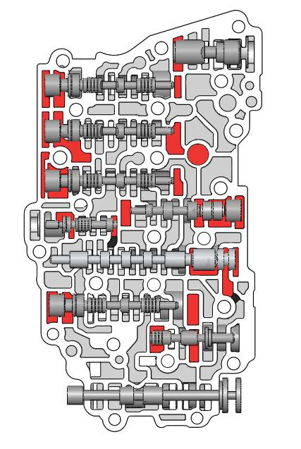 Critical Wear Areas & Vacuum Test Locations NOTE: Some test locations will vary when using Kit versus the small test plate included in the VACTEST-01K. Main Control Valve Body Front 6F35, Gen.
