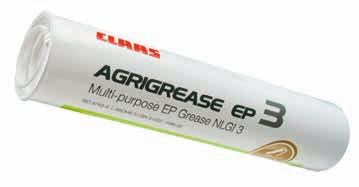 Lubricating greases. Antifreeze products. CLAAS AGRIGREASE is available for optimum lubrication during operation of all rotating parts on CLAAS machines.