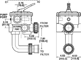 PVC unions for filterto-valve connection Positive seal prevents leakage between ports 18201-0110 Two-position backwash valves have minimal flow restriction Innovative handle design allows