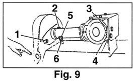 It is possible for you to insert a tool through the belt cover (Fig. 9), with mower stopped, to check the tension. 2.