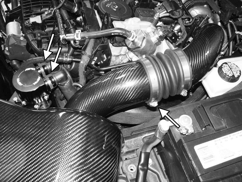 137) Install the APR intake into the rear intake pipe, and secure with the hose clamp. Connect the vacuum line to the bottom of the APR intake.